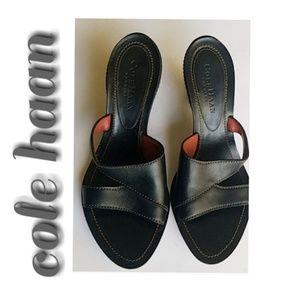 Cole Haan Black Leather Slide Sandals. Size 6.5B